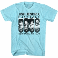 Jimi Hendrix Shirt NY Foxy Lady 1970 Heather Blue T-Shirt