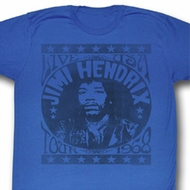 Jimi Hendrix Shirt Tour 1968 Adult Blue Heather Tee T-Shirt