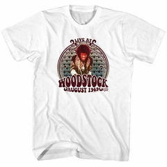 Jimi Hendrix Shirt Woodstock August 1969 White T-Shirt