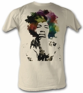 Jimi Hendrix T-shirt - Point Adult Dirty White Tee Shirt