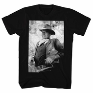 John Wayne Shirt Black And White Picture Black T-Shirt