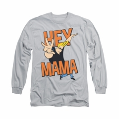 Johnny Bravo Shirt Long Sleeve Hey Mama Silver Tee T-Shirt