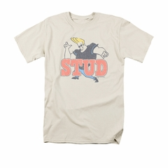 Johnny Bravo Shirt Stud Adult Cream Tee T-Shirt