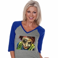 Joker Face Ladies Three Quarter Sleeve V-Neck Shirt