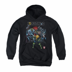 Judge Dredd Youth Hoodie Behind Him Black Kids Hoody