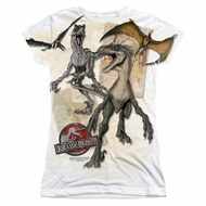 Jurassic Park Dino Drawings Sublimation Juniors Shirt