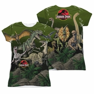 Jurassic Park Pack Of Dinos Sublimation Juniors Shirt Front/Back Print