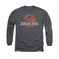 Jurassic Park Shirt Faded Logo Long Sleeve Charcoal Tee T-Shirt