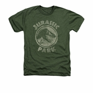 Jurassic Park Shirt Jp Stamp Adult Heather Military Green Tee T-Shirt