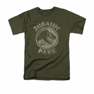Jurassic Park Shirt Jp Stamp Adult Military Green Tee T-Shirt