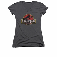 Jurassic Park Shirt Juniors V Neck Stone Logo Charcoal Tee T-Shirt