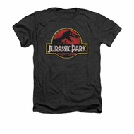 Jurassic Park Shirt Stone Logo Adult Heather Charcoal Tee T-Shirt