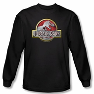 Jurassic Park T-shirt Movie Logo Adult Black Long Sleeve Tee Shirt