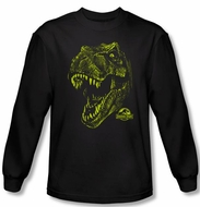 Jurassic Park T-shirt Rex Dinosaur Mount Adult Black Long Sleeve Tee