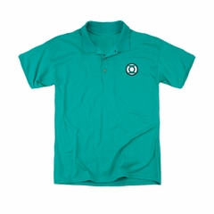 Justice League Embroidered Polo Shirt Green Lantern Kelly Green