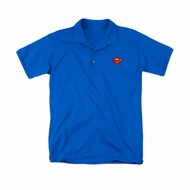 Justice League Embroidered Polo Shirt Superman Royal Blue