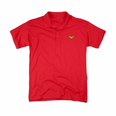 Justice League Embroidered Polo Shirt Wonder Woman Red
