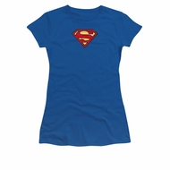 Justice League Embroidered Shirt Juniors Superman Royal Blue T-Shirt