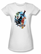 Justice League Juniors T-shirt Superheroes At Your Service White Shirt