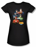 Justice League Juniors T-shirt Superheroes Group Portrait Black Shirt