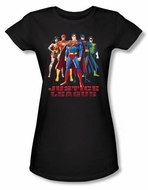 Justice League Juniors T-shirt Superheroes In League Black Tee Shirt
