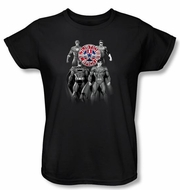 Justice League Ladies Superheroes T-shirt - Shades Of Gray Black Tee