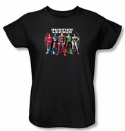 Justice League Ladies Superheroes T-shirt - The Big Five Black Tee