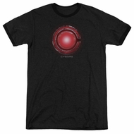 Justice League Movie Cyborg Logo Black Ringer Shirt
