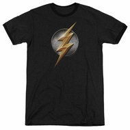 Justice League Movie Flash Logo Black Ringer Shirt