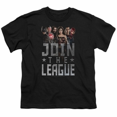 Justice League Movie Kids Shirt Join The League Black T-Shirt