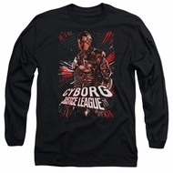 Justice League Movie Long Sleeve Cyborg Profile Black Tee T-Shirt