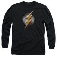 Justice League Movie Long Sleeve Flash Logo Black Tee T-Shirt
