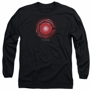 Justice League Movie Long Sleeve Shirt Cyborg Logo Black Tee T-Shirt