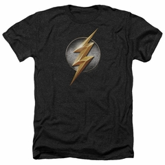 Justice League Movie Shirt Flash Logo Heather Black T-Shirt