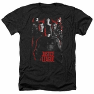 Justice League Movie Shirt The League Red Glow Heather Black T-Shirt