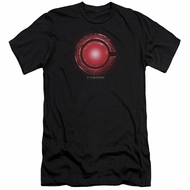 Justice League Movie Slim Fit Shirt Cyborg Logo Black T-Shirt