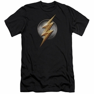Justice League Movie Slim Fit Shirt Flash Logo Black T-Shirt