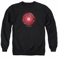Justice League Movie Sweatshirt Cyborg Logo Adult Black Sweat Shirt