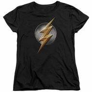 Justice League Movie Womens Shirt Flash Logo Black T-Shirt
