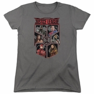 Justice League Movie Womens Shirt League of Six Charcoal T-Shirt