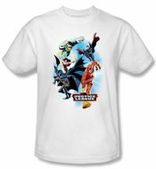 Justice League Superheroes T-shirt - At Your Service Adult White Tee