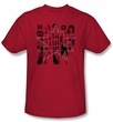 Justice League Superheroes T-shirt - Five Stars Adult Red Tee