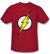 Justice League Superheroes T-shirt - Flash Logo Adult Red Tee