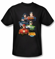 Justice League Superheroes T-shirt - Group Portrait Adult Black Tee
