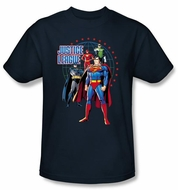 Justice League Superheroes T-shirt - Protectors Adult Navy Blue Tee