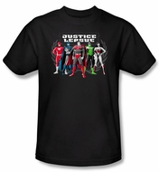 Justice League Superheroes T-shirt � The Big Five Adult Black Tee