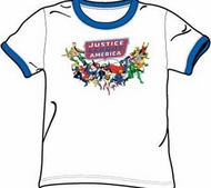 Justice League T-shirt - Here They Come Adult White/Royal Ringer Tee