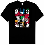 Justice League T-shirt - Nine Blocks Adult Black Tee