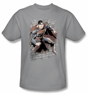 Justice League T-shirt Superman Bricks Silver Gray Tee