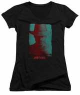 Justified Juniors V Neck Shirt Raylan Givens Silhouette Black T-Shirt